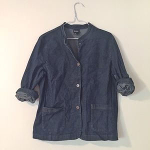 Eileen Fisher • Mock Neck Denim Jacket